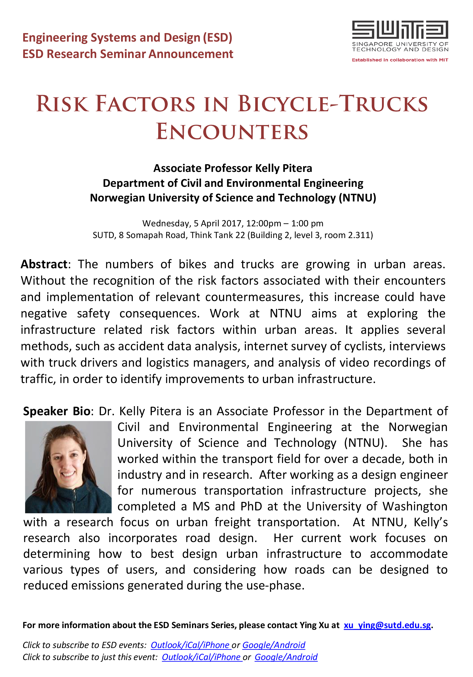 Assoc. Prof. Kelly Pitera - Risk Factors om Bicycle-Trucks Encounters